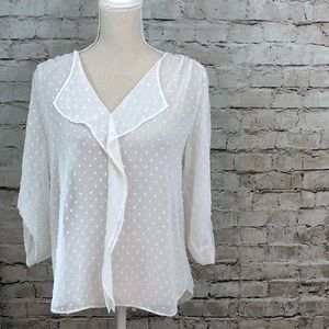 ANN TAYLOR White Sheer Summer Dotted Blouse